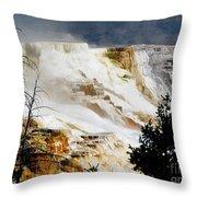 Mammoth Springs Yellowstone Steam Rising Throw Pillow