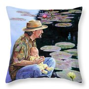 Man And Child In The Garden Throw Pillow