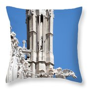 Man And Dragon Gargoyles With Tower Duomo Di Milano Italia Throw Pillow