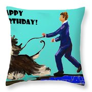 Man And His Dog Throw Pillow