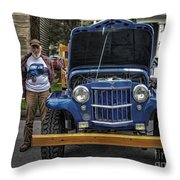 Man And His Jeep Throw Pillow