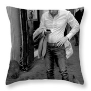 Man And His Phone Throw Pillow