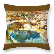 Man And Pool. Florida Throw Pillow