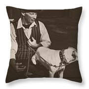 Man And White Dog In New Orleans Throw Pillow