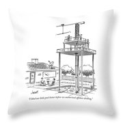 Man And Woman Sitting In Their Backyard Throw Pillow