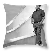 Man At Conrcete Structure Throw Pillow