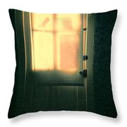 Man At Door With Cleaver Throw Pillow