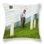 Man At Headstone Throw Pillow