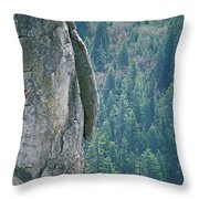 Man Climbing On A Big Granite Spire Throw Pillow
