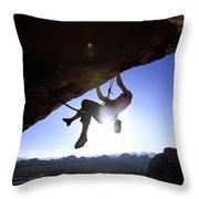 Man Climbing On An Overhang In Joshua Throw Pillow