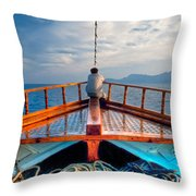 Man Day-deaming On Traditional Greek Ship Throw Pillow