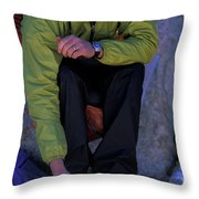 Man Eating Out Of A Small Bowl Throw Pillow