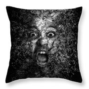 Man Eyes Face Horror Portrait Black And White  Throw Pillow