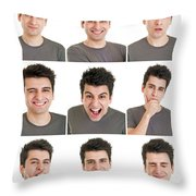 Man Face Expressions Throw Pillow