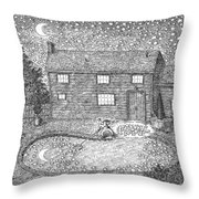 Man Fishes Stars Out Of His Pool At Nighttime Throw Pillow