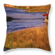 Man Fly Fishing On The Owens River Throw Pillow