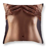 Man Hands Covering Nude Woman Breasts Throw Pillow