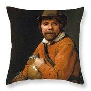 Man Holding A Jug Throw Pillow