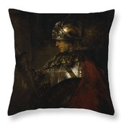 Man In Armor Throw Pillow