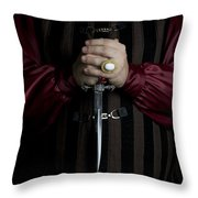 Man In Baroque Outfits Holding A Silver Dagger Throw Pillow