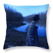 Man In Fedora By River Throw Pillow