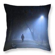Man In Hat And Overcoat Walking In Fog On A Tree Lined Avenue In Throw Pillow