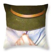 Man In Hat Throw Pillow