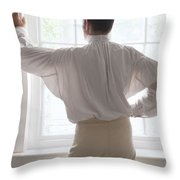 Man In Historical Shirt At The Window Throw Pillow
