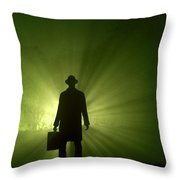 Man In Light Beams Throw Pillow