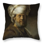 Man In Oriental Dress Throw Pillow