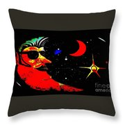 Man In The Moon Edited Throw Pillow
