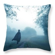 Man In Top Hat And Cape On Foggy Dirt Road Throw Pillow