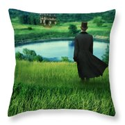 Man In Top Hat On A Hill Throw Pillow