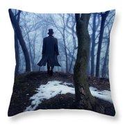 Man In Top Hat Walking Through Foggy Woods Throw Pillow