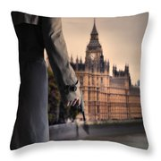 Man In Trenchcoat With A Gun In London Throw Pillow