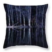 Man In Woods By River Throw Pillow