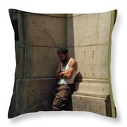 Man Leaning Against Wall In Sun Throw Pillow