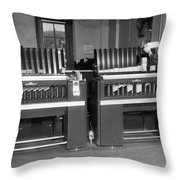 Man Loading Punch Cards Throw Pillow