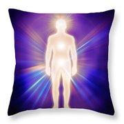 Man Luminous Ethereal Body Energy Emanations Concept Throw Pillow