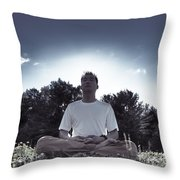 Man Meditating In The Nature During Sunrise Throw Pillow