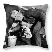 Man Milking Cow Throw Pillow