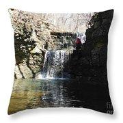Man On A Waterfall Ledge Throw Pillow