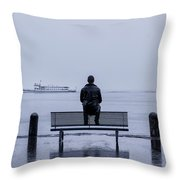 Man On Bench Throw Pillow by Joana Kruse