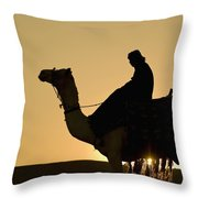Man On Camel At Dusk Near The Pyramids Throw Pillow