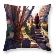 Man On Cemetery Steps Throw Pillow
