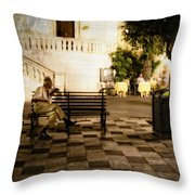 Man On The Bench Throw Pillow