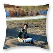 Man On The Hunt  Throw Pillow