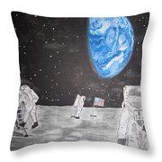 Man On The Moon Throw Pillow