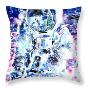Man On The Moon - Watercolor Portrait Throw Pillow