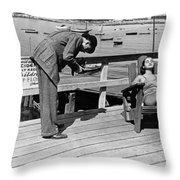 Man Photographs Sleeping Girl Throw Pillow